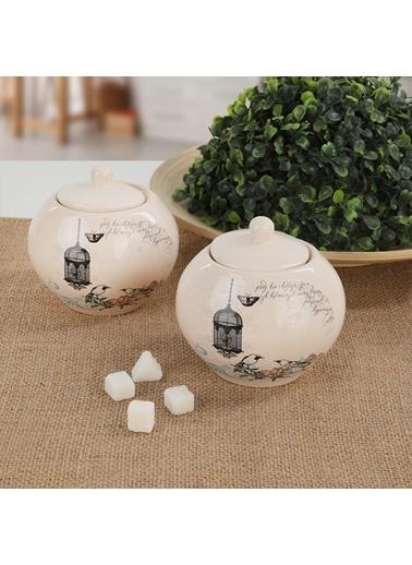 Keramika Keramika 10 cm 2 Adet Retro Şekerlik Renkli